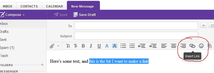 Yahoo link text highlighted